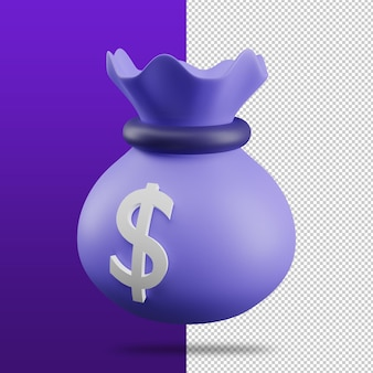 Rendu 3d du concept d'économie d'argent d'icône de sac d'argent
