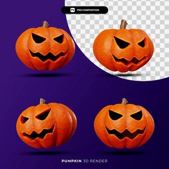 Rendu 3d du concept halloween citrouilles jack avec différentes poses isolées