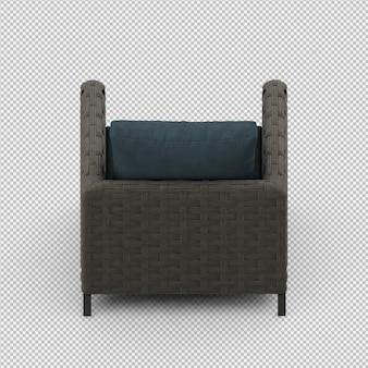 Rendu 3d du fauteuil isométrique