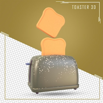 Rendu 3d du grille-pain de dessin animé