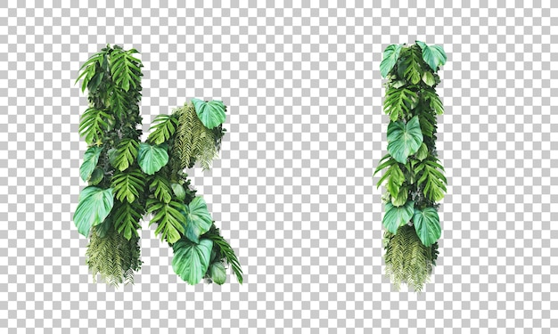 Rendu 3d du jardin vertical alphabet minuscule k et alphabet l