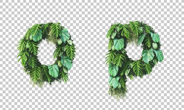 Rendu 3d du jardin vertical alphabet minuscule o et alphabet p