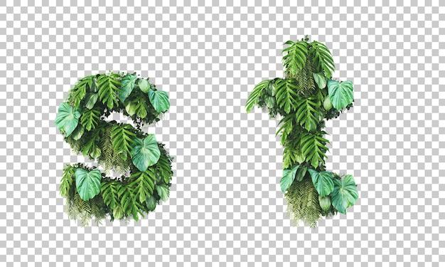 Rendu 3d du jardin vertical alphabet minuscule s et alphabet t