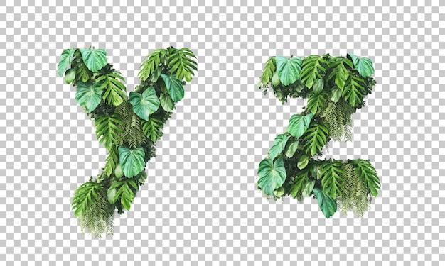 Rendu 3d du jardin vertical alphabet minuscule y et alphabet z