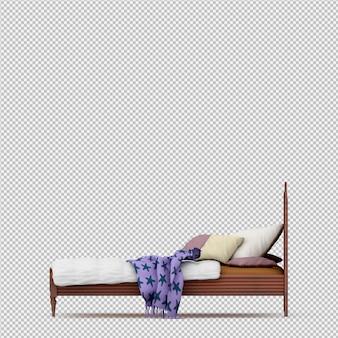 Rendu 3d du lit isométrique