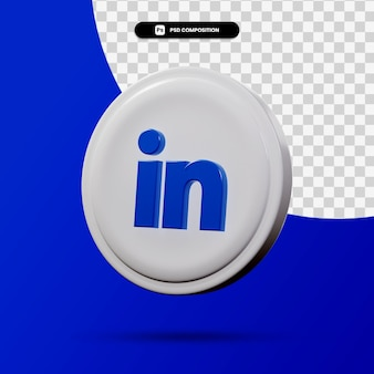 Rendu 3d du logo de l'application linkedin isolé