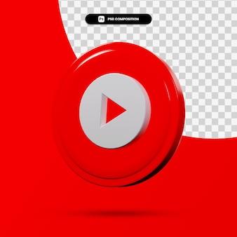 Rendu 3d du logo d'application de musique youtube isolé