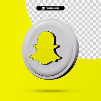 Rendu 3d du logo de l'application snapchat isolé