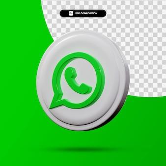 Rendu 3d du logo de l'application whatsapp isolé