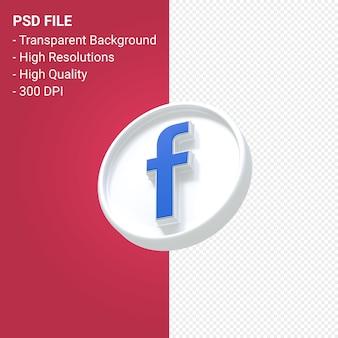 Rendu 3d du logo facebook isolé