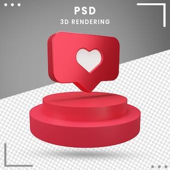 Rendu 3d du logo pivoté love instagram