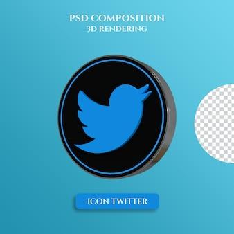 Rendu 3d du logo twitter avec style de cercle de couleur en métal argenté