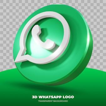 Rendu 3d du logo whatsapp isolé