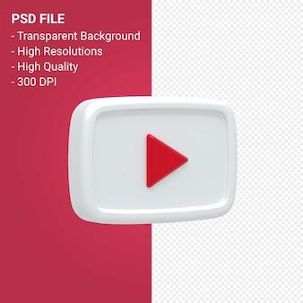 Rendu 3d du logo youtube isolé