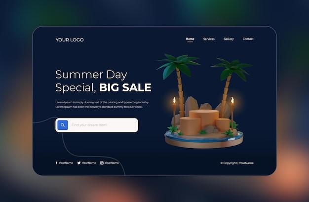 Rendu 3d du modèle de conception de page de destination d'été