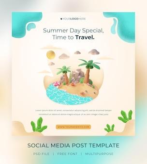 Rendu 3d du modèle de publication sur les réseaux sociaux