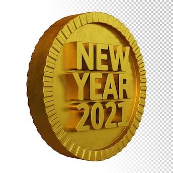Rendu 3d du nouvel an 2021 avec insigne circulaire en gras doré isolé