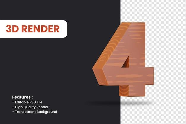 Rendu 3d du numéro 4 avec effet de texture bois isolé