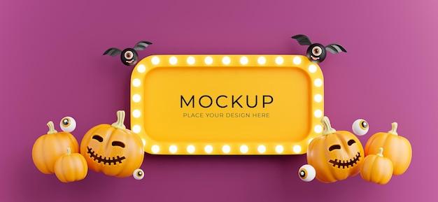 Rendu 3d du panneau de signalisation d'halloween avec citrouille, oeil, chauve-souris, néon lumineux pour l'affichage du produit