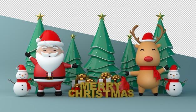 Rendu 3d du père noël, boîte-cadeau et arbre de noël