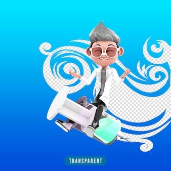 Rendu 3d du personnage du médecin avec injection et vaccin