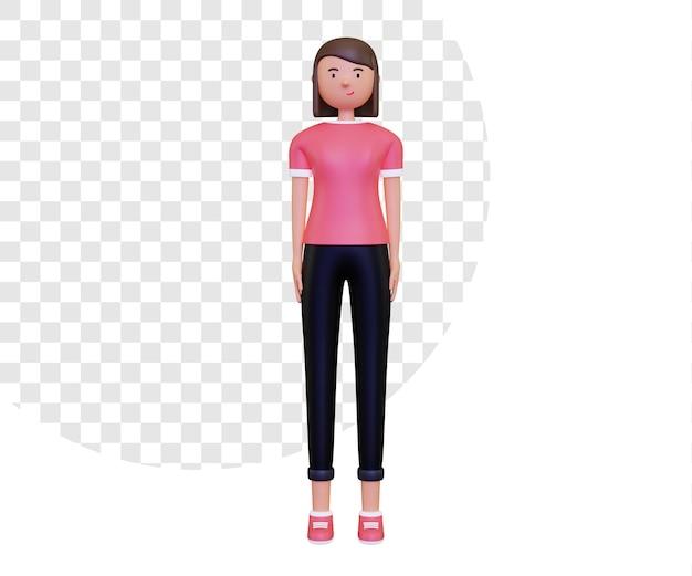 Rendu 3d du personnage féminin de tout le corps