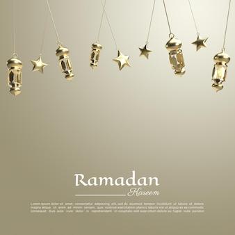 Rendu 3d du ramadan kareem avec lampe pour les médias sociaux
