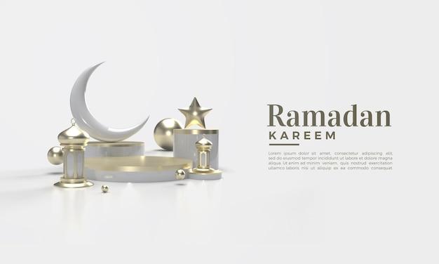 Rendu 3d du ramadan kareem en or sur fond blanc