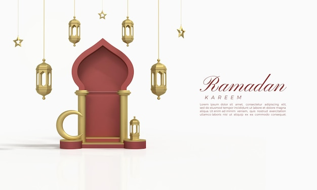 Rendu 3d du ramadan kareem avec des salles rouges et des suspensions