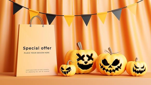 Rendu 3d du sac à provisions avec concept de magasinage halloween pour l'affichage du produit