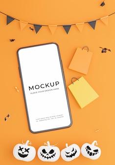 Rendu 3d du smartphone avec concept de shopping halloween