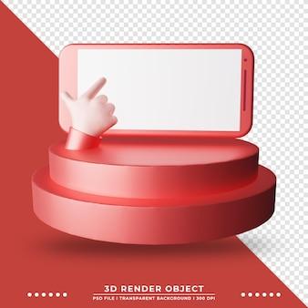 Rendu 3d du smartphone avec des mains de dessin animé mignon sur scène