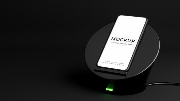 Rendu 3d du smartphone avec maquette de chargeur sans fil
