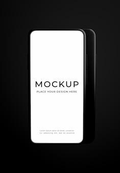 Rendu 3d du smartphone sur la maquette de fond noir