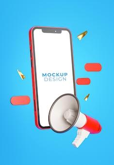 Rendu 3d du smartphone avec maquette de mégaphone