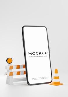 Rendu 3d du smartphone avec symbole de marque de réparation isolé