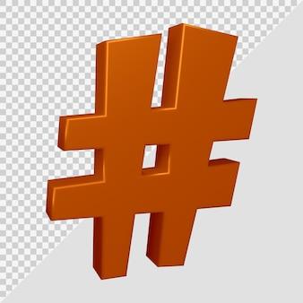 Rendu 3d du symbole hashtag