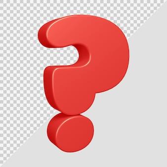 Rendu 3d du symbole de point d'interrogation