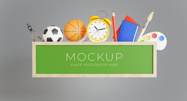 Rendu 3d du tableau vert avec concept de retour à l'école pour l'affichage de votre produit