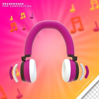 Rendu 3d Des écouteurs PSD Premium