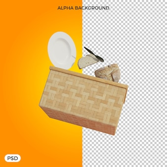 Rendu 3d des éléments de pique-nique