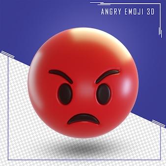 Rendu 3d d'emoji visage en colère isolé