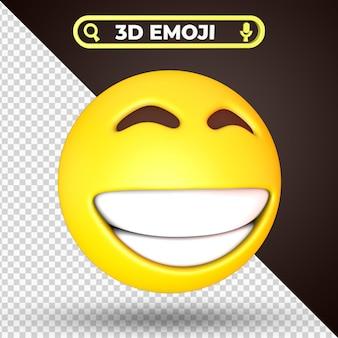 Rendu 3d emoji visage plissé souriant isolé