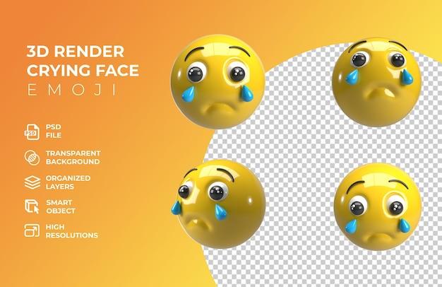 Rendu 3d emoji visage qui pleure