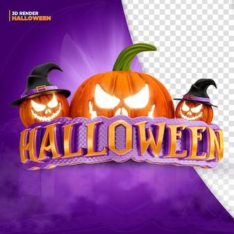Rendu 3d de l'étiquette halloween pour la composition