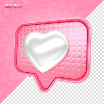 Rendu 3d d'étiquette de réaction de coeur rose pour la composition