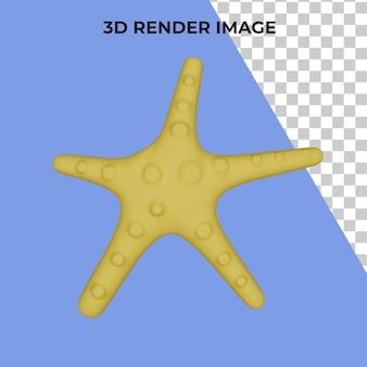 Rendu 3d de l'étoile de mer premium psd