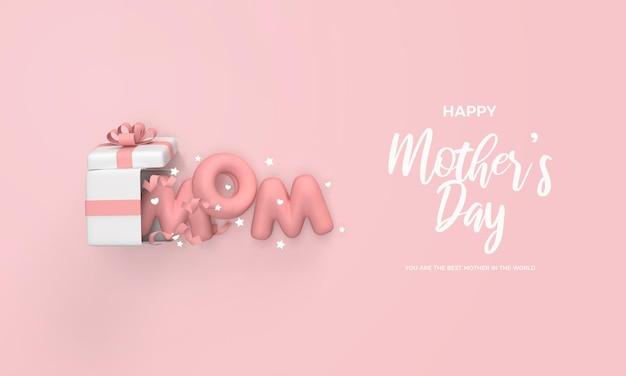 Rendu 3d de fête des mères avec boîte-cadeau ouverte