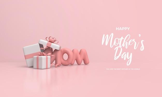 Rendu 3d de la fête des mères avec l'écriture rose de maman et deux coffrets cadeaux