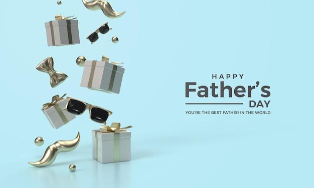 Rendu 3d de la fête des pères avec une boîte cadeau et des lunettes volantes